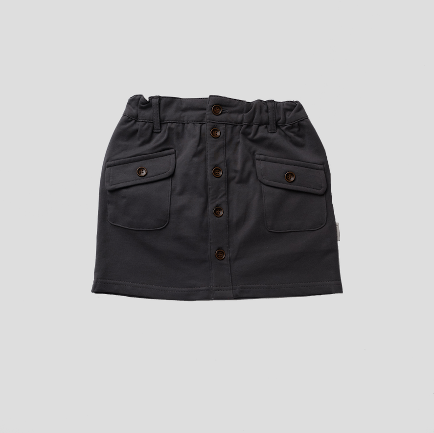 BUTTON FRONT SKIRT - CHARCOAL KNIT