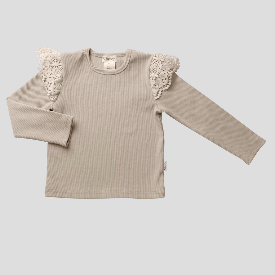 LACE SLEEVE RIB TOP - CREAM