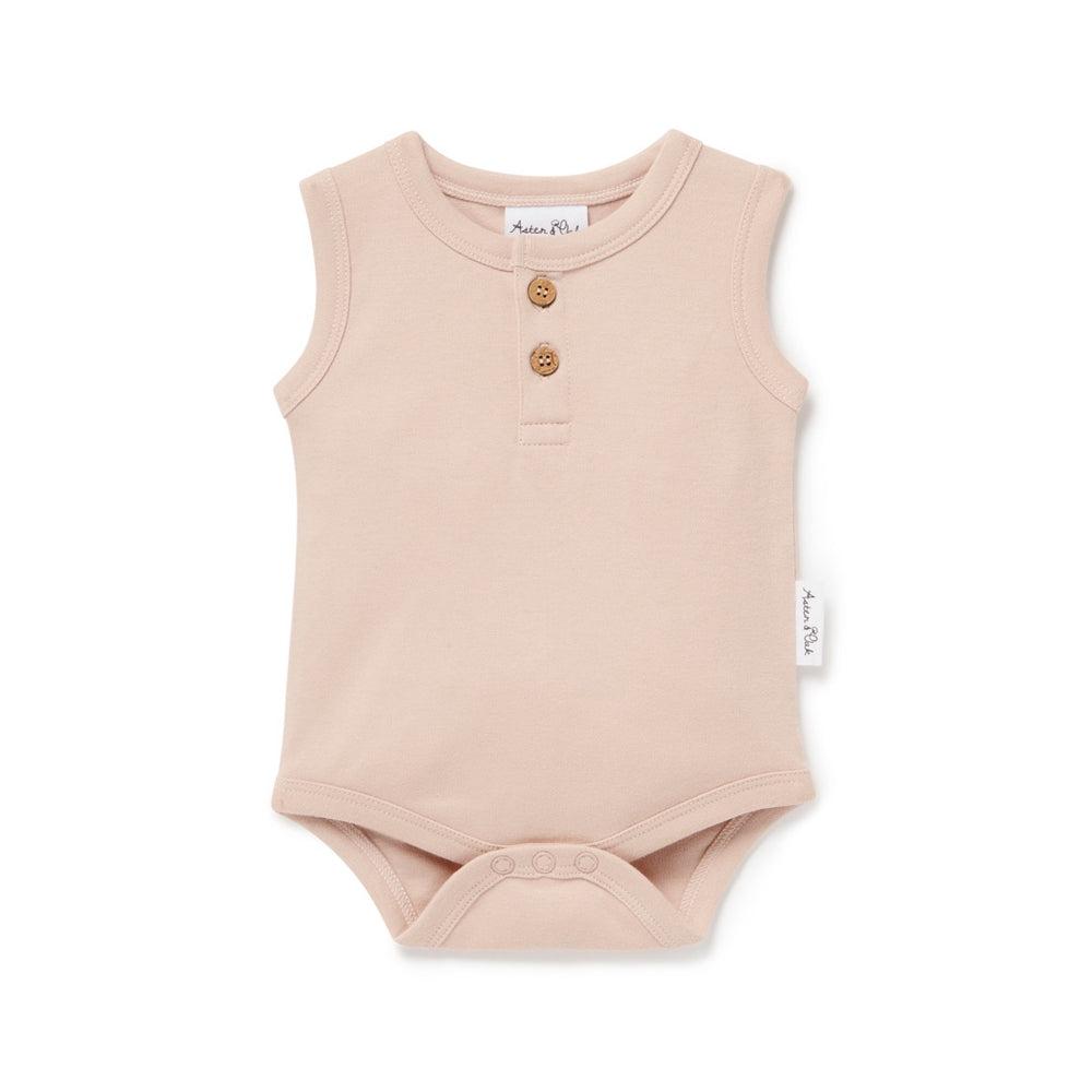 SINGLET ONESIE - ROSE DUST