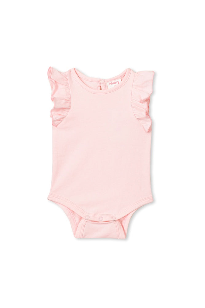 Load image into Gallery viewer, FLUTTER SLEEVE BUBBYSUIT – PASTEL PINK