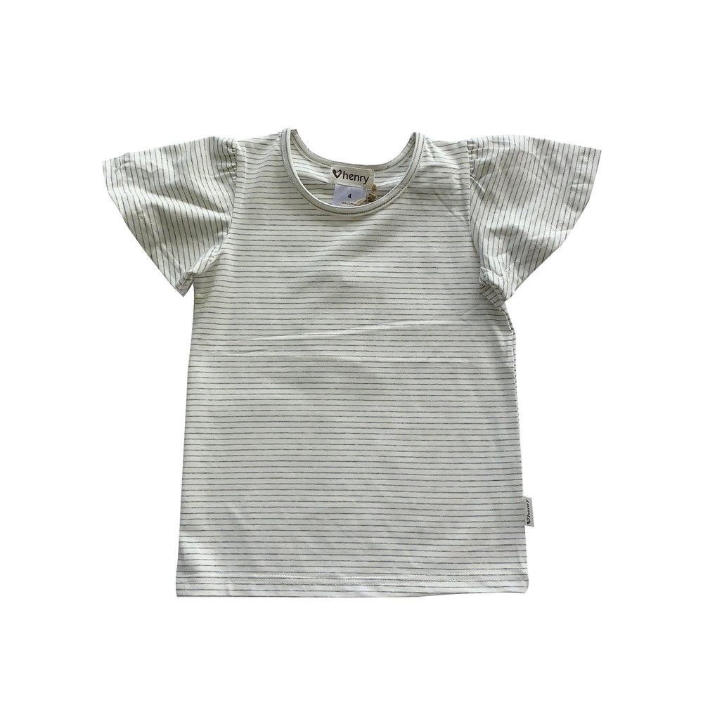GIRLS FRILL SLEEVE TOP - OLIVE STRIPE