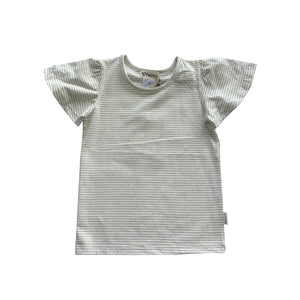 Load image into Gallery viewer, GIRLS FRILL SLEEVE TOP - OLIVE STRIPE