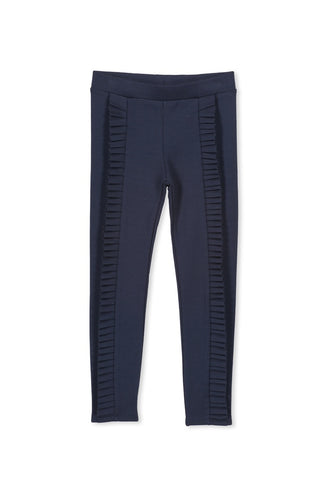 PONTE FRILL PANT - NAVY