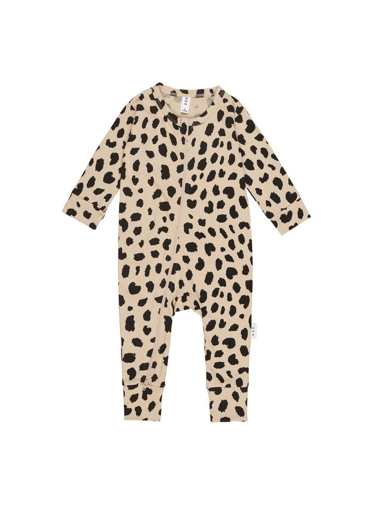 ANIMAL SPOT ZIP ROMPER - SAND