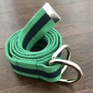 Belle's Belts - Navy & Green Stripe Belt (JNR Mens)