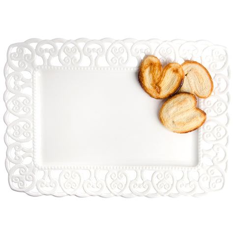 Pierced SCROLL Rectangle Platter