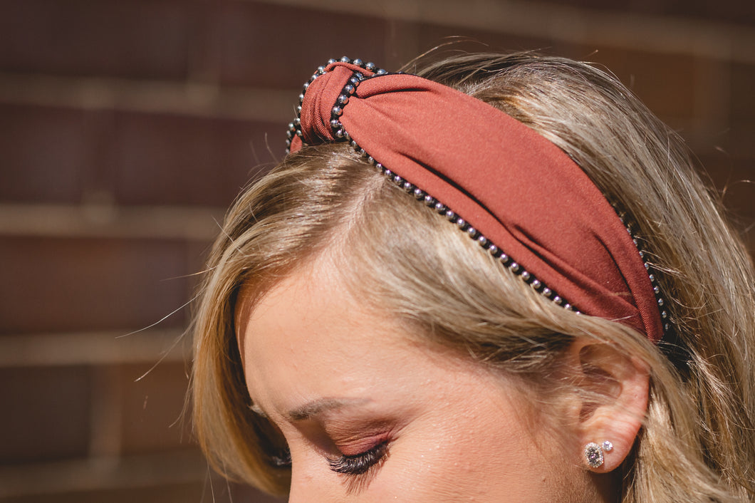 Rust Stud Knotted Headband