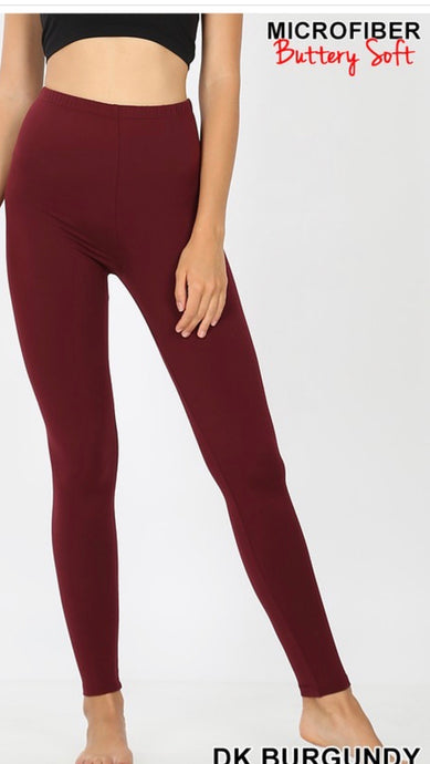 Burgandy Solid Legging