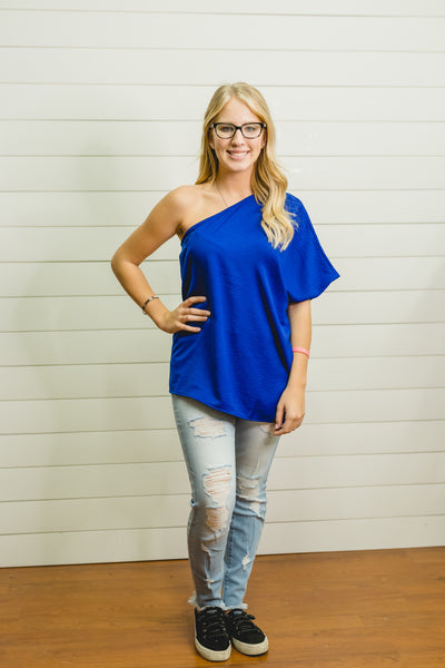 Royal One Shoulder Top
