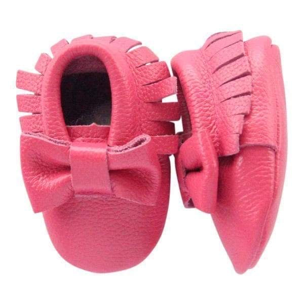 Hot pink Bow leather baby moccasins