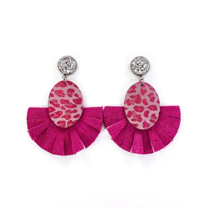 Pink Leopard Fan Earring