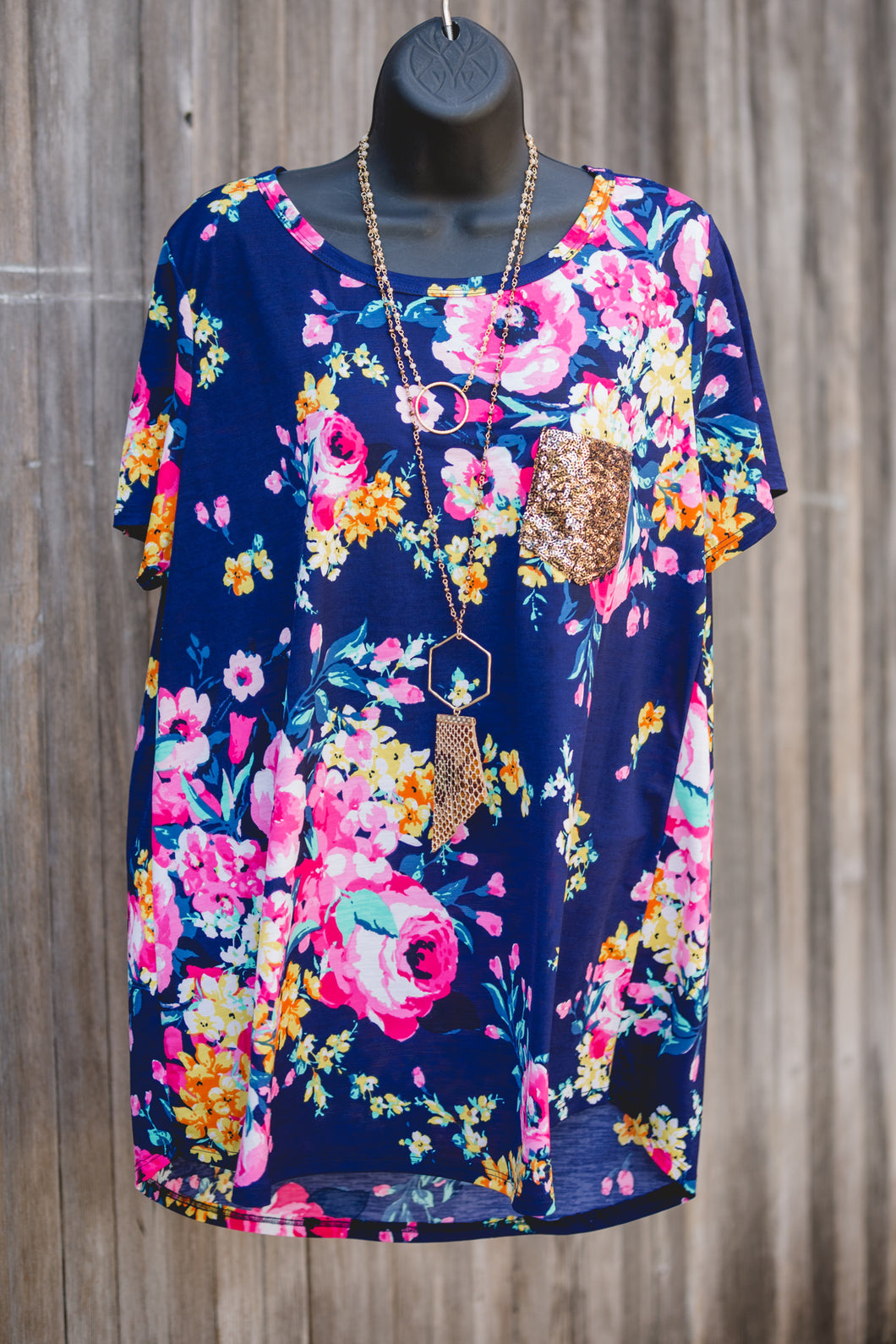 Floral Glitter Pocket Top