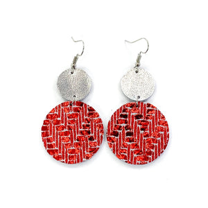 Leather Red Crackle Earrings