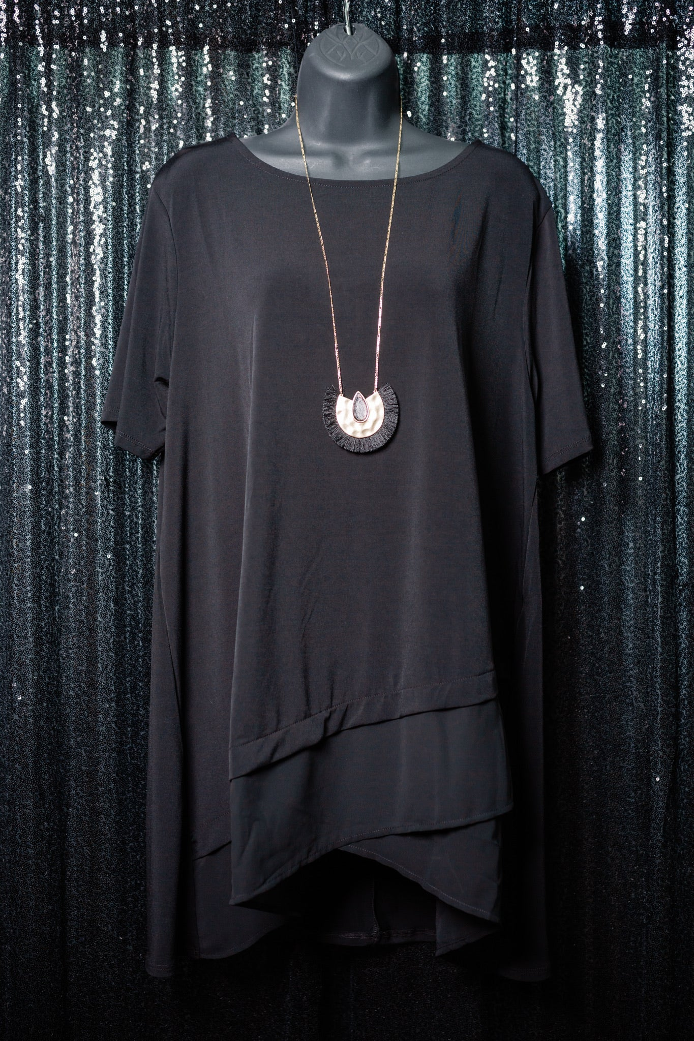 Black PLUS Cross Top
