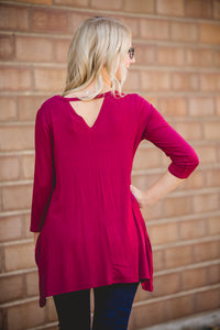 Burgundy Key Hole Top