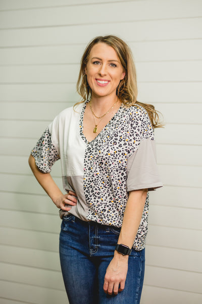 Silver Panel Leopard Top