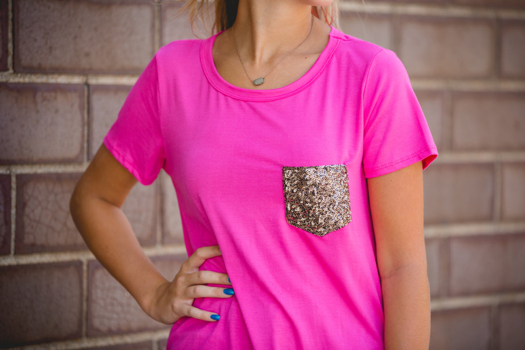 Fuchsia Glitter Pocket Top