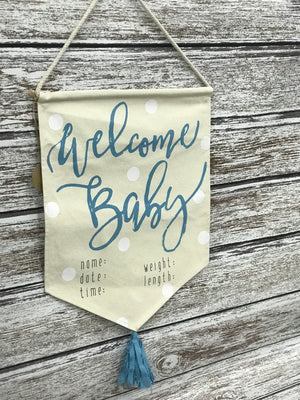 Blue Welcome Baby Banner