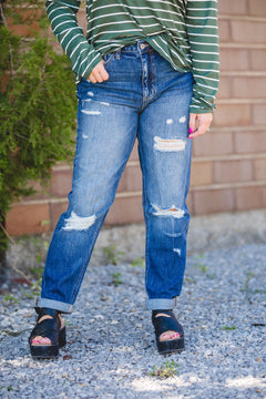 Dark Distressed Cuffed Denim