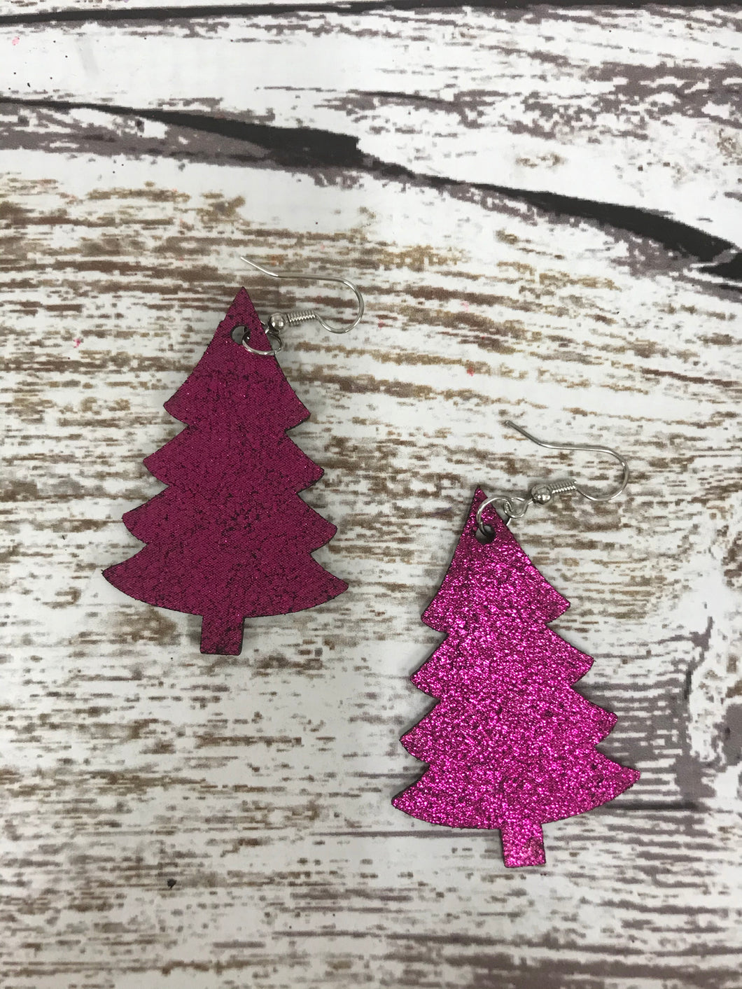 Holiday Tree Pink glitter Earring