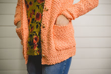 Coral Popcorn Button Cardigan