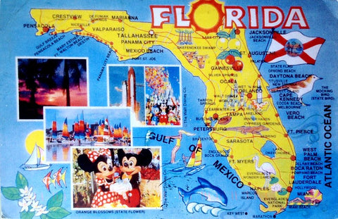 Retro tourist map of Florida to represent the states status as a top bed bug infestation destination