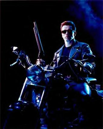 Terminator movie actor on motorcycle to represent heat killing bed bug eggs using a heat treatment bed bug heater