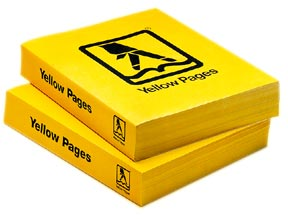 Two yellow pages phone books stacked on top each other with bed bug heater suppliers inside