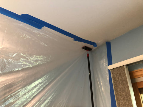 Bed bugs cannot escape plastic and blue painters tape and zipwall poles
