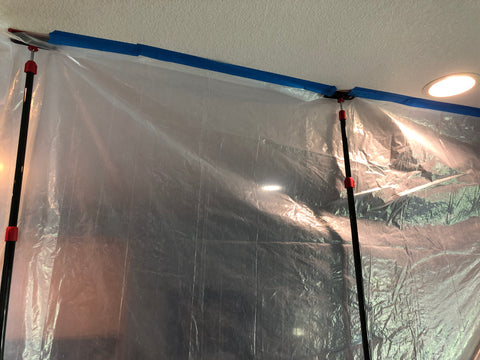 Zip walls used for create a temporary bed bug hot box with blue painters tape and plastic sheeting. Treats large rooms in 2 or more parts.