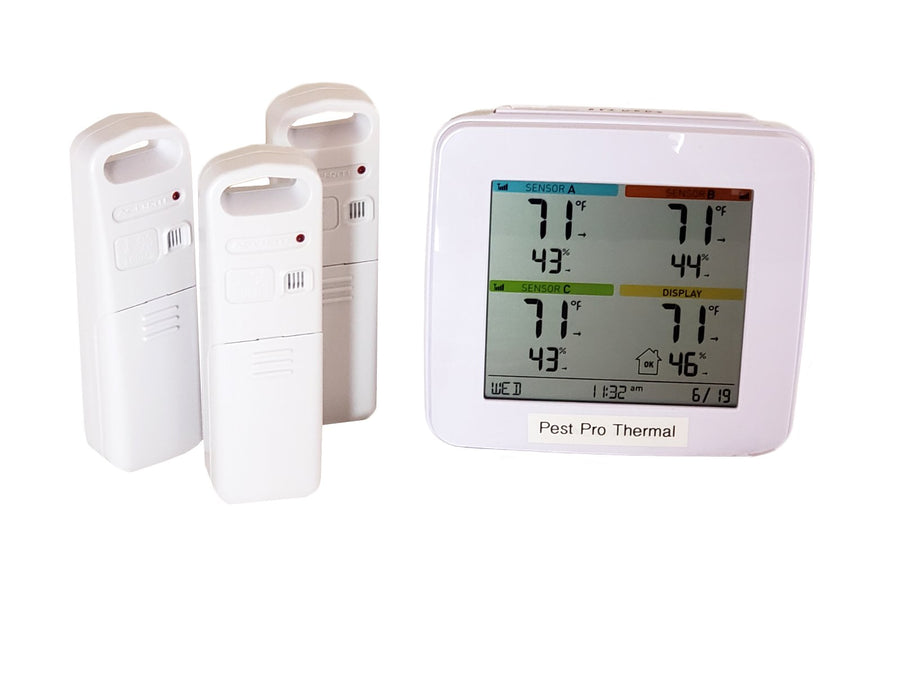 Temperature monitoring is crucial to killing bed bugs with heat. The hot air needs to be distributed to every nook and cranny in the room. Taking temperature in different areas simultaneously will help. PestPro Thermal can advise on all things disinfecting and deinfesting with heat.