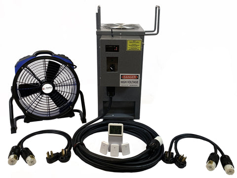 Photo of All Steel PestPro Thermal Universal Bed Bug Heater Package including fan, cords and temperature monitor