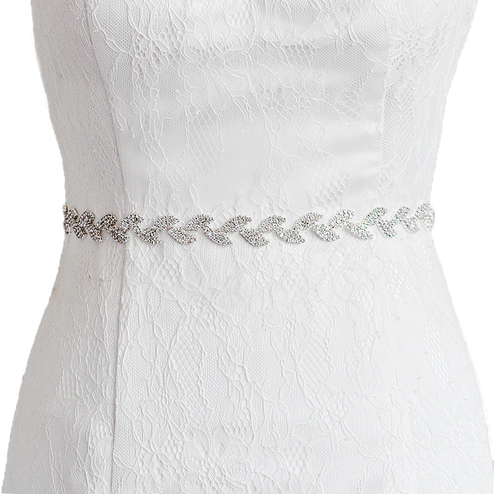 Handmade Rhinestone Crystals Wide Wedding Dress Sash Belt S198-SIL - sepbridals