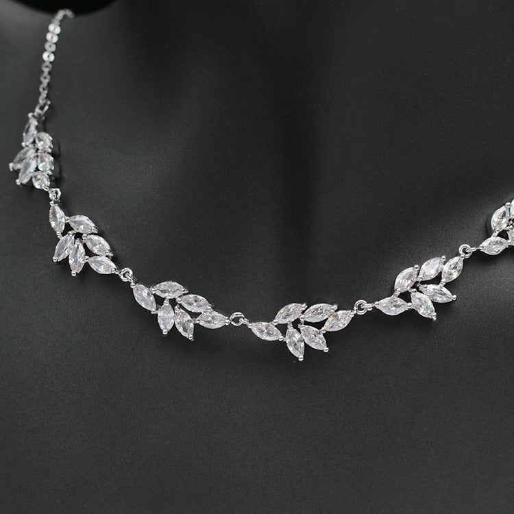 Cubic zirconia bride wedding necklace earring set top quality CN33009 - sepbridals
