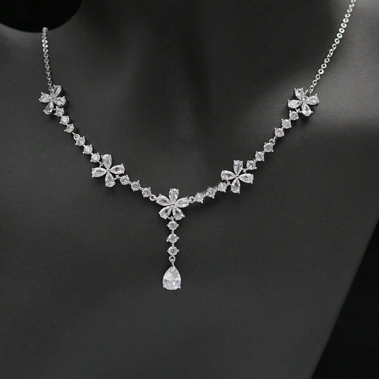 Cubic zirconia bride wedding necklace earring set top quality CN33005 - sepbridals