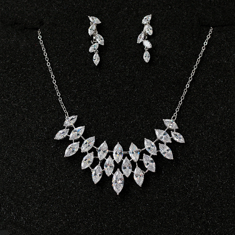 Cubic zirconia bride wedding necklace earring set top quality CN33006 - sepbridals