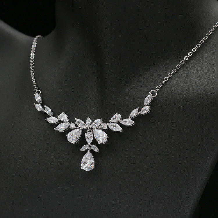 Cubic zirconia bride wedding necklace earring set top quality  CN33010 - sepbridals