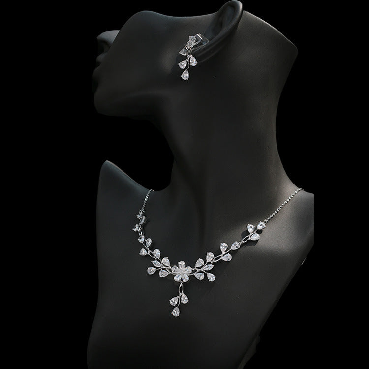 Cubic zirconia bride wedding necklace earring set top quality  CN33012 - sepbridals