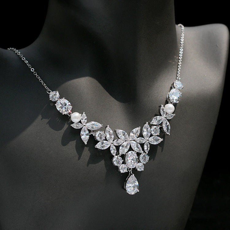Cubic zirconia bride wedding necklace earring set top quality CN33020 - sepbridals