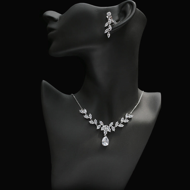 Cubic zirconia bride wedding necklace earring set top quality  CN33015 - sepbridals
