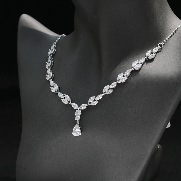 Cubic zirconia bride wedding necklace earring set top quality  CN33019 - sepbridals