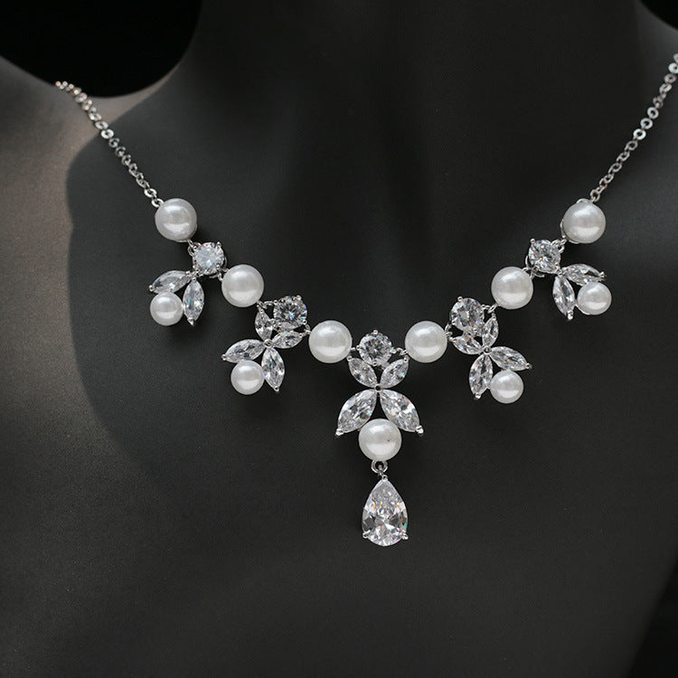 Cubic zirconia bride wedding necklace earring set top quality CN33021 - sepbridals