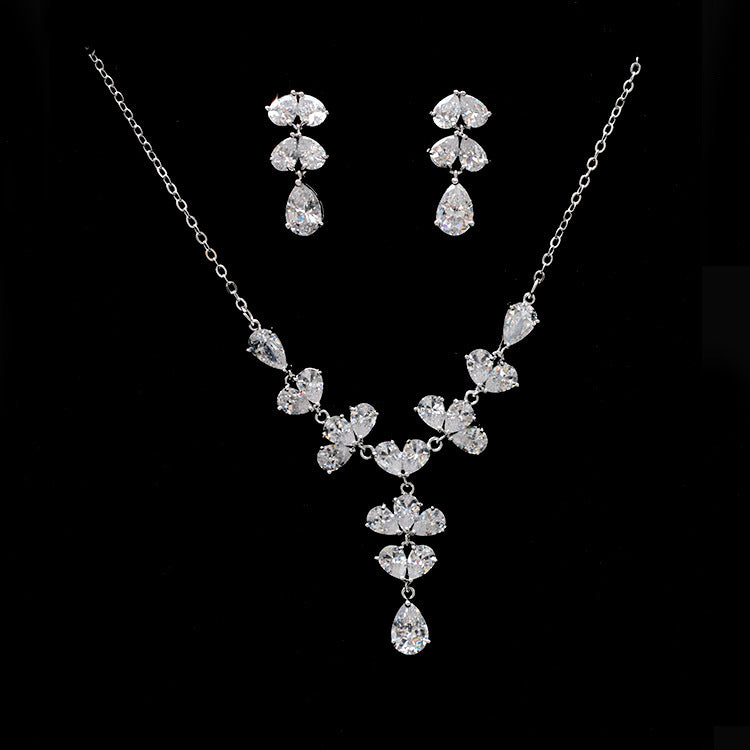 Cubic zirconia bride wedding necklace earring set top quality CN33023 - sepbridals