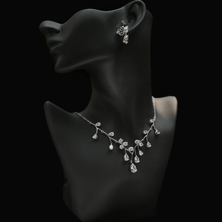 Cubic zirconia bride wedding necklace earring set top quality CN33024 - sepbridals