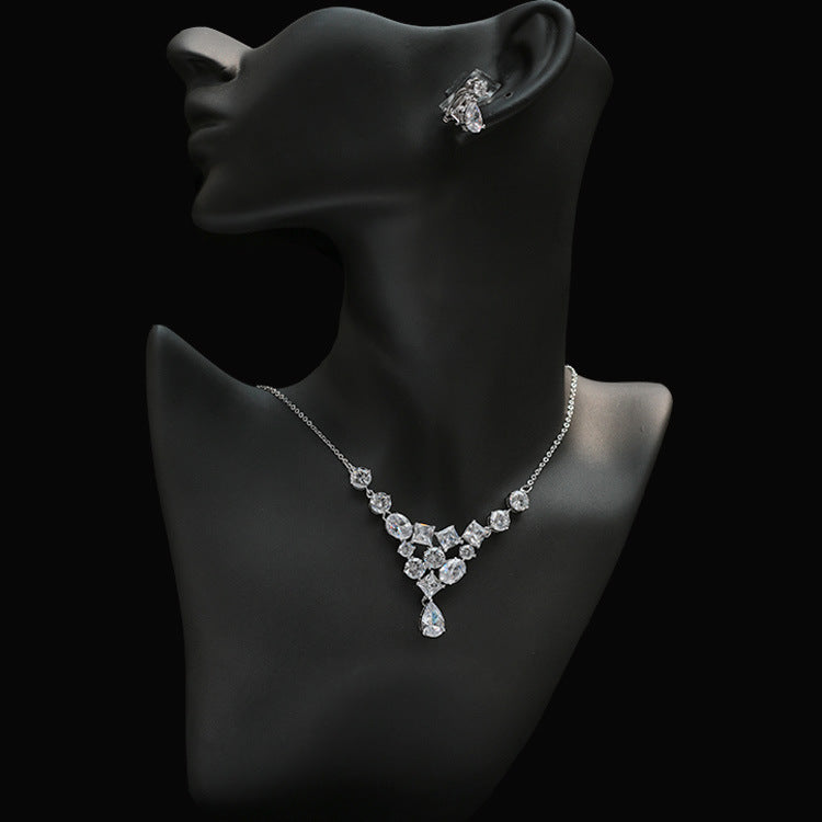 Cubic zirconia bride wedding necklace earring set top quality CN33026 - sepbridals