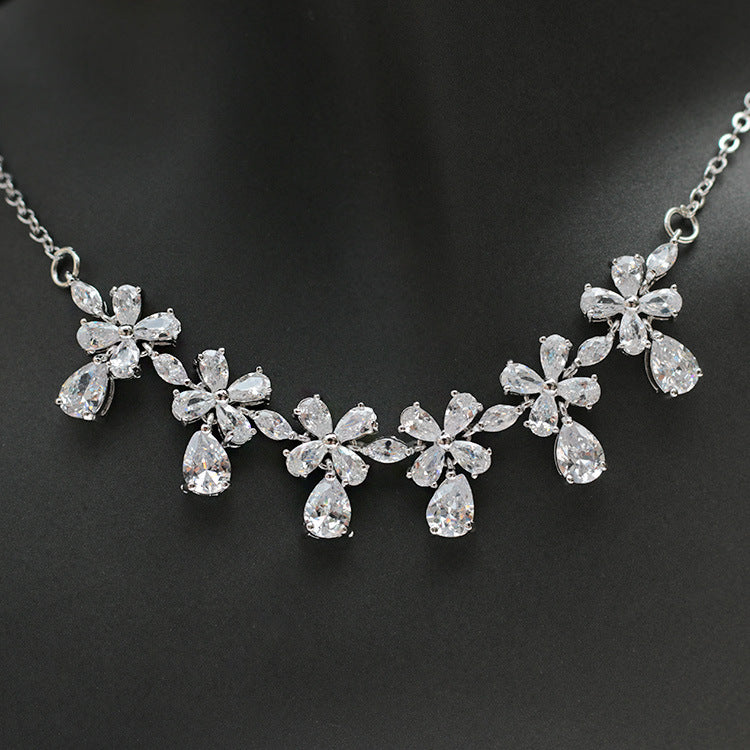 Cubic zirconia bride wedding necklace earring set top quality CN33027 - sepbridals