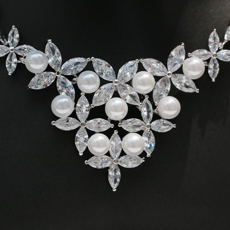 Cubic zirconia bride wedding necklace earring set top quality CN33032 - sepbridals