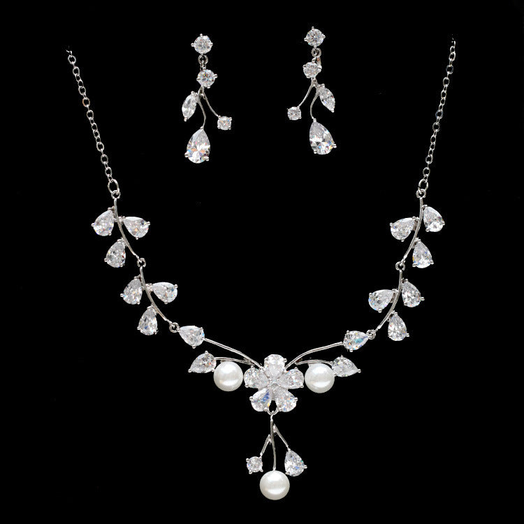Cubic zirconia bride wedding necklace earring set top quality CN33033 - sepbridals