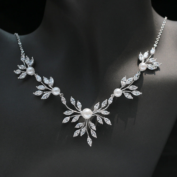Cubic zirconia bride wedding necklace earring set top quality  CN33030 - sepbridals
