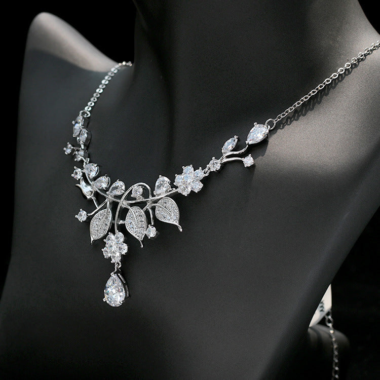 Cubic zirconia bride wedding necklace earring set top quality CN33034 - sepbridals